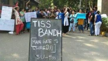 TISS students protest scholarship withdrawal